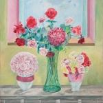 """Blumensträuße aus eigen Gartenrosen, Sorte """"New Dawn"""", auf Nachtspeicheröfen, auf die Eva besonders stolz ist!"""