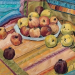 Äpfel auf Samtstreifen