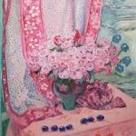 Rosenstrauß vor indischem Sari